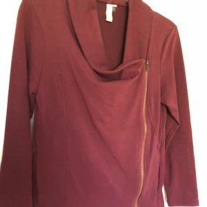 Jackets & Blazers - Maroon asymmetrical jacket/sweater